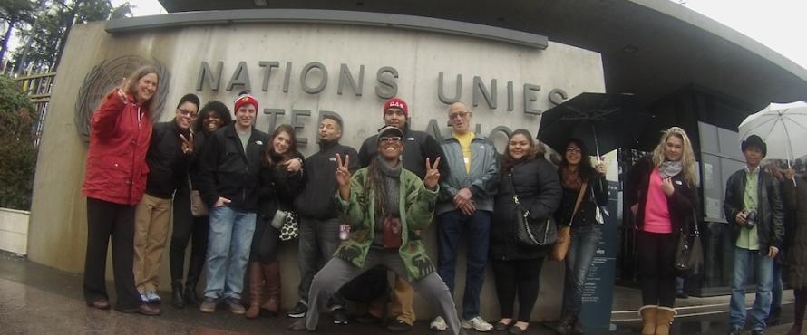 Northeastern Illinois University's contingent in Geneva, Switzerland (photos by Gio Baez)