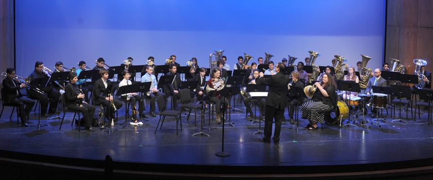 Mass Brass performs on the Auditorium stage.