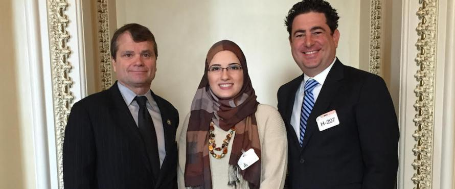 "U.S. Rep. Mike Quigley, Alaa Basatneh and ""#chicagoGirl"" director Joe Piscatella"