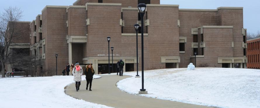 Students walking outside of Bernard Brommel Hall