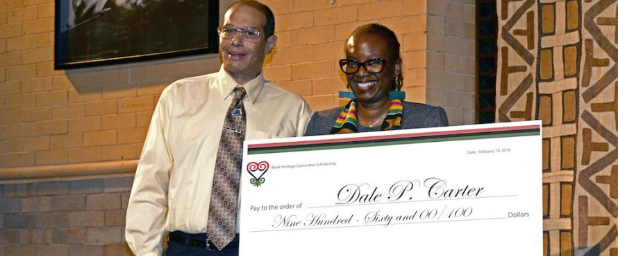 Dale Carter receives the Black Heritage Committee Scholarship