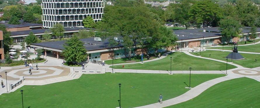 Aerial view of University Commons, B Building, and C Building