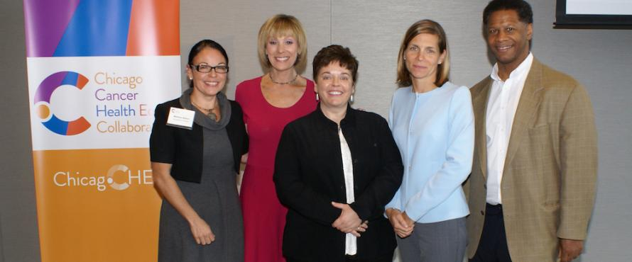 Pictured above: ABC7's Roz Varon (second from left) poses with principal investigators (from left) Melissa Simon, Moira Stuart, Christina Ciecierski and Robert Winn.