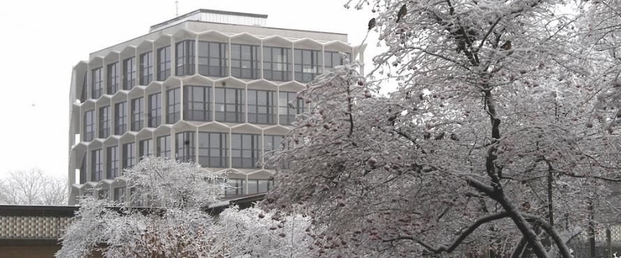 Exterior of the Sachs Administrative Building in winter