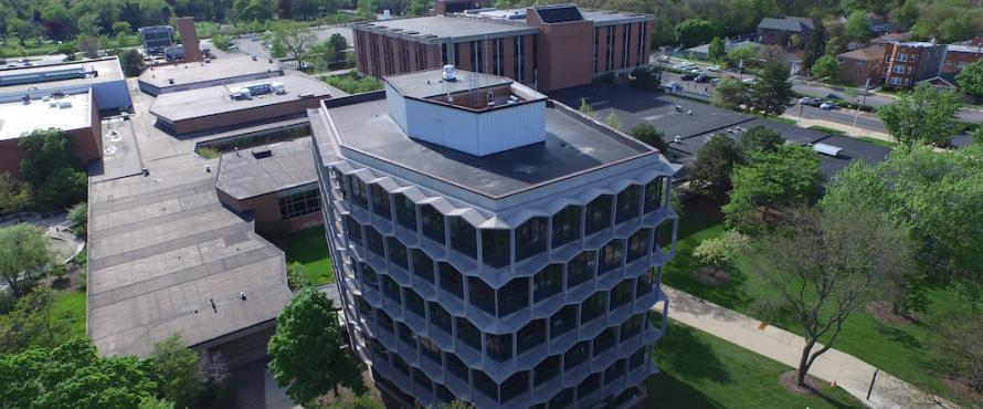 Aerial view of Sachs Administrative Building