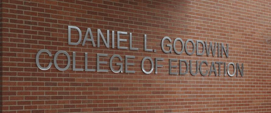Signage for the Daniel L. Goodwin College of Education