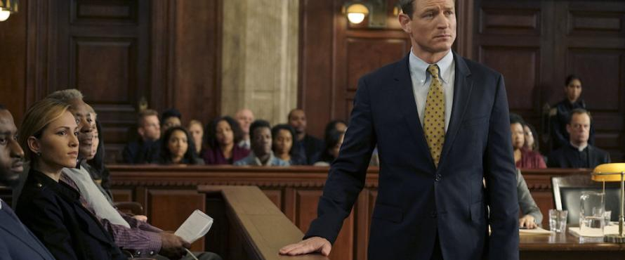 "Promotional photo from ""Chicago Justice"" showing a courtroom scene"