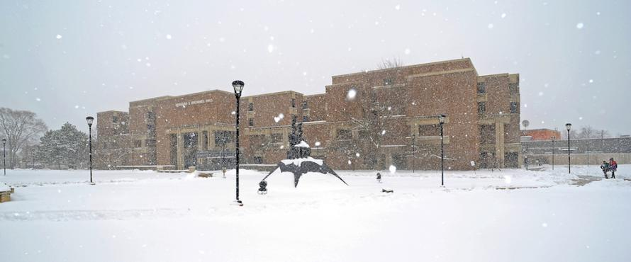 Snow falls on the Commons at Northeastern Illinois University.