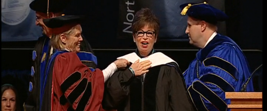 From left: Acting Provost Vicki Roman-Lagunas, Valerie Jarrett, Interim President Richard Helldobler