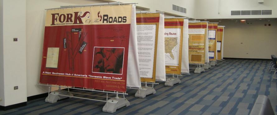 Forks of the Roads informational displays set up in the Student Union building