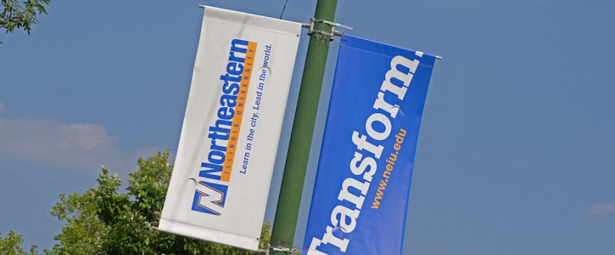 Lighpole banners displaying a banner with the Northeastern wordmark and a banner with the word Transform