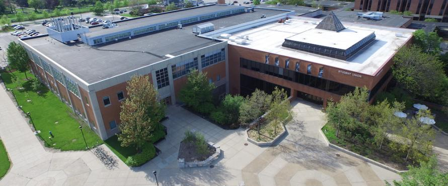 Elevated view of Student Union Building and University Commons