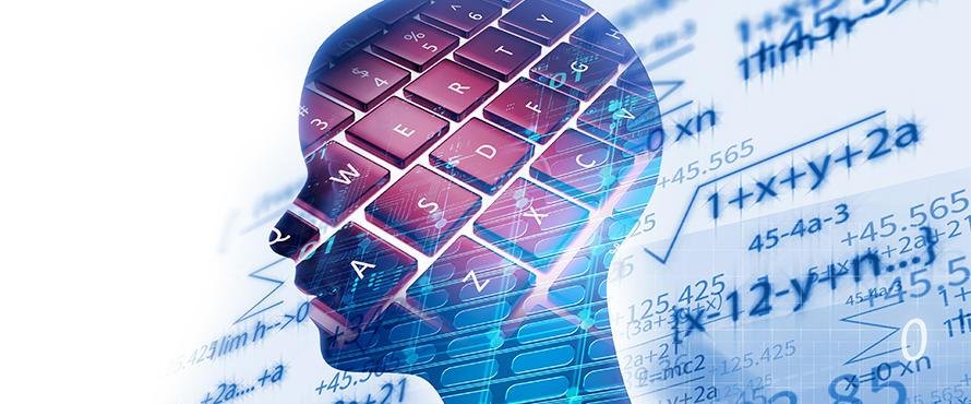 A composite image with a human head in silhouette laid over a keyboard and mathematical equations