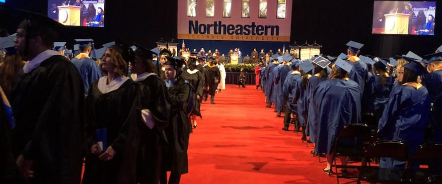 Students process during Commencement on Dec. 17, 2017, at UIC Pavilion.