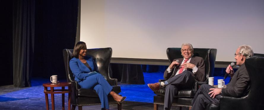 From left: Katrina Bell-Jordan, Carl Bernstein and Bob Woodward participate in the Daniel L. Goodwin Lecture Series event in the Auditorium.