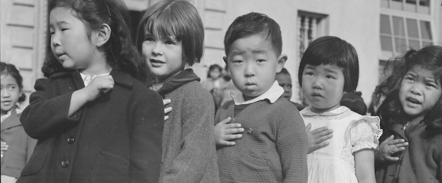 First-grade school children in San Francisco recite the Pledge of Allegiance in 1942. (Photo courtesy of the National Archives and Records Administration)