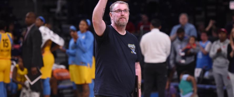 Stephen Joseph waves to the crowd at the Chicago Sky game.