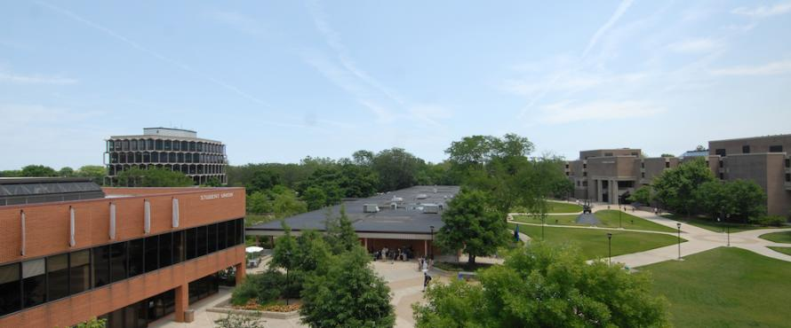 An elevated view of the University Commons, Student Union and B Buildings