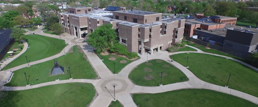 An elevated view of the University Commons pathways and Bernard Brommel Hall