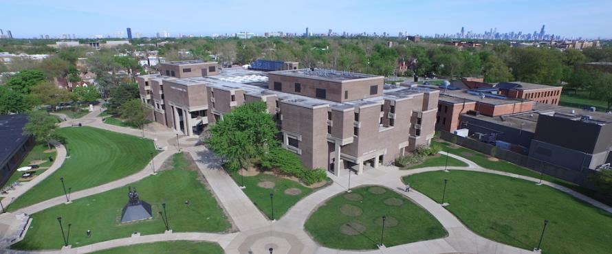 An elevated view of Bernard Brommel Hall and the University Commons