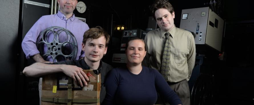 From left: Northeastern Assistant Professor Shayne Pepper and Julian Antos, Becca Hall and Kyle Westphal of the Chicago Film Society