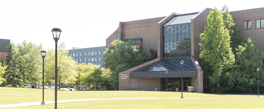 The eastern exterior of the Ronald Williams Library as seen from the University Commons