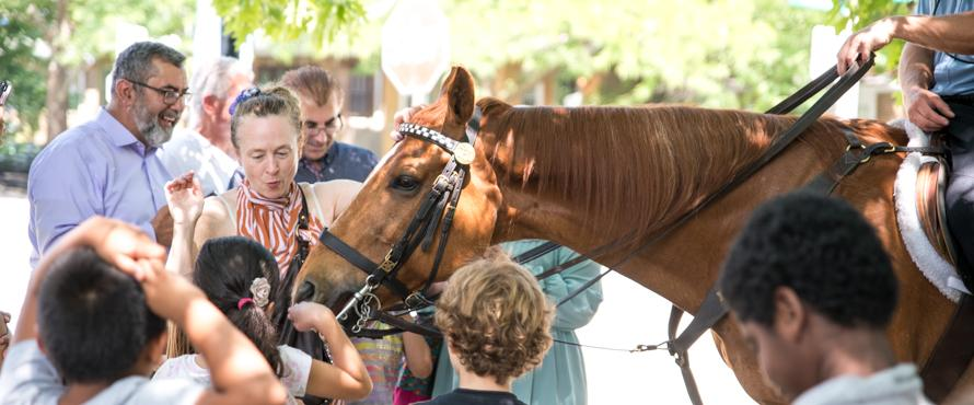 A photo of children in the STARTALK SAMI program petting a horse from the Chicago Police Department's Mounted Unit.