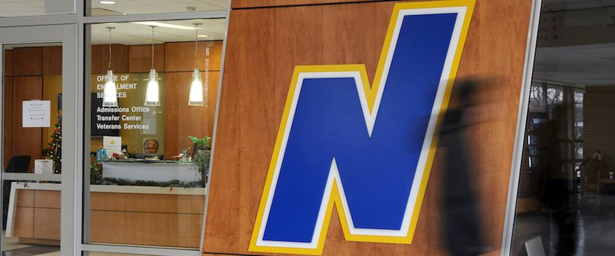 "Photo of Northeastern ""N"" logo outside of the Admissions office"