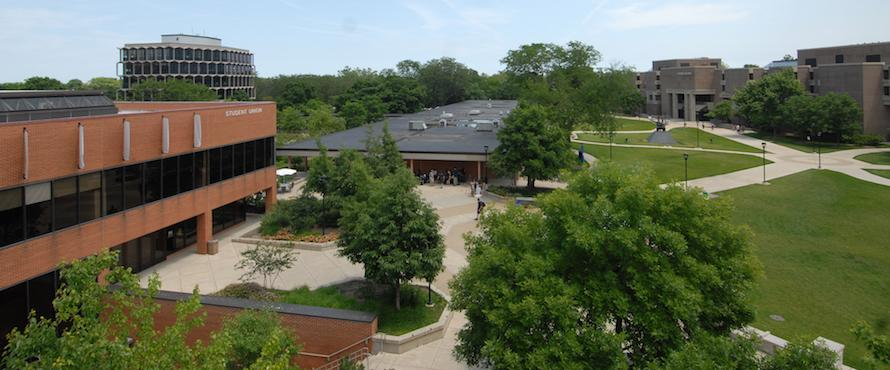 An elevated view of the Student Union building and the University Commons