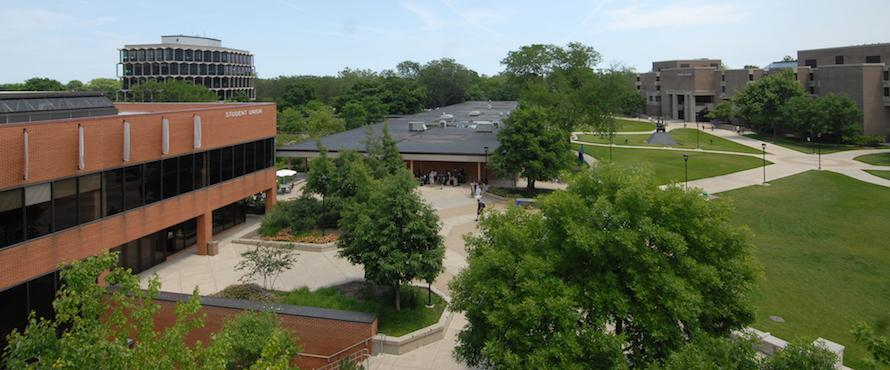 An elevated view of the University Commons and the Student Union Building exterior