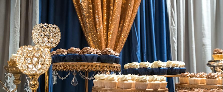 Desserts are shown at a gala.