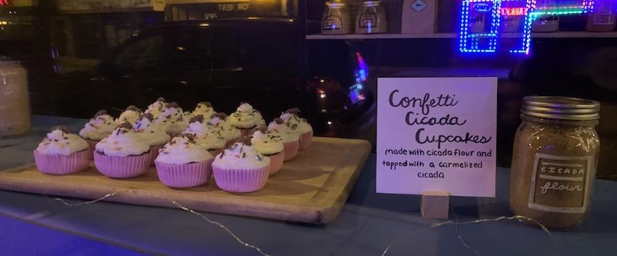 A dozen pink cupcakes rest on a wooden board next to a sign that reads Confetti Cicada Cupcakes