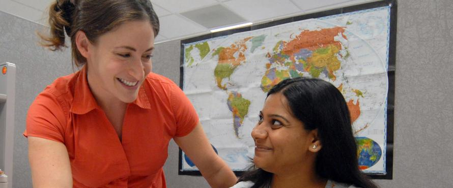 Northeastern mentor helping student