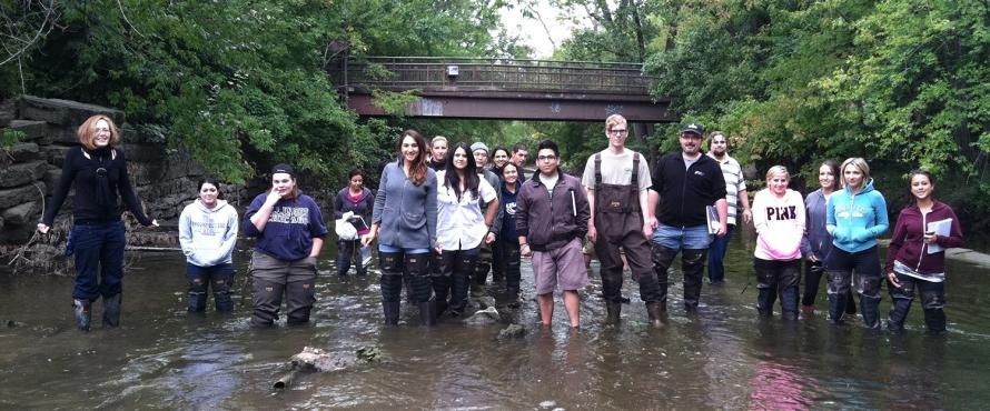Students and Researchers on the water