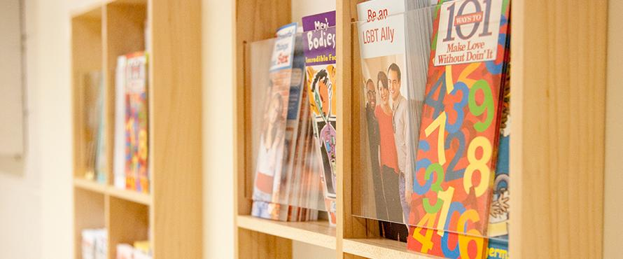 Health Services feature image of bookcase with resource magazines