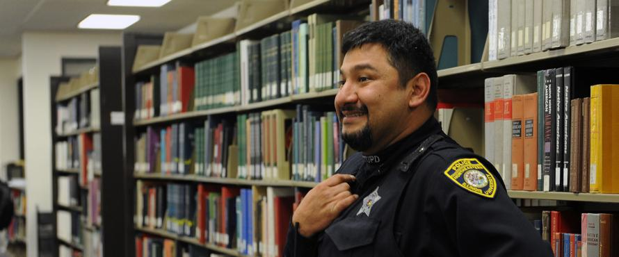 Officer in Library