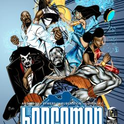 Image of graphic novel cover: super hero figures all posing in different directions