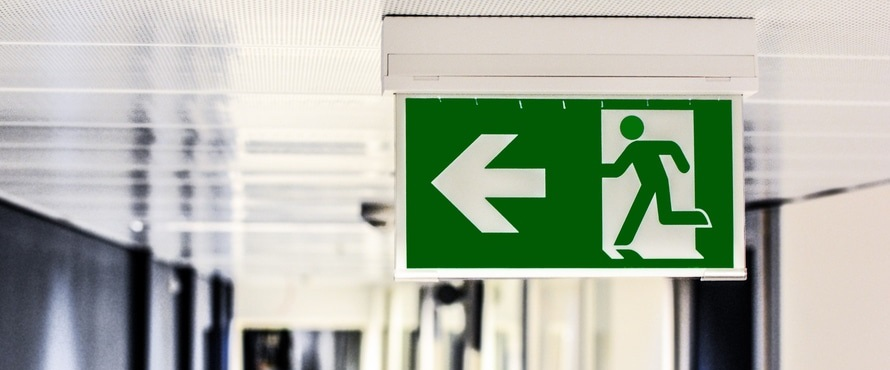 Emergency sign that points to exits