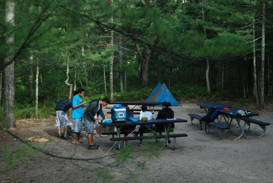 Students at a campsite