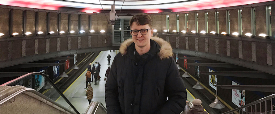 Jonathan Ramsey at a train station in Poland.